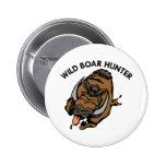 White Wild Boar Hunter 2 Inch Round Button