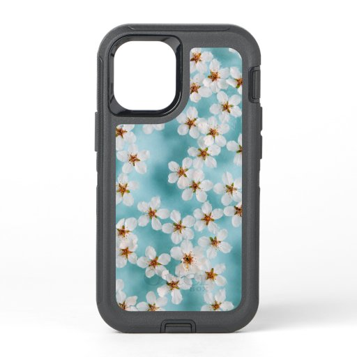 White Wild Cherry Blossom Flowers On Blue OtterBox Defender iPhone 12 Mini Case