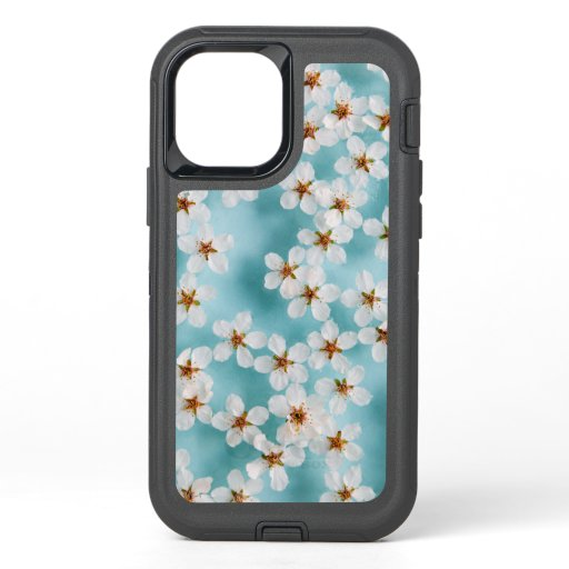 White Wild Cherry Blossom Flowers On Blue OtterBox Defender iPhone 12 Case
