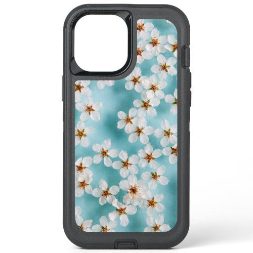 White Wild Cherry Blossom Flowers On Blue OtterBox Defender iPhone 12 Pro Max Case
