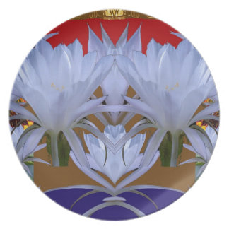 WHITE Wild Lilly Flowers  Greetings gifts bLESSING Melamine Plate