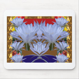 WHITE Wild Lilly Flowers  Greetings gifts bLESSING Mouse Pad