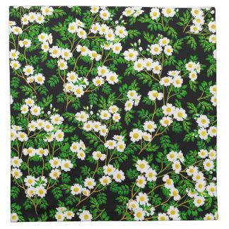 White Wild Rose Flowers Napkins