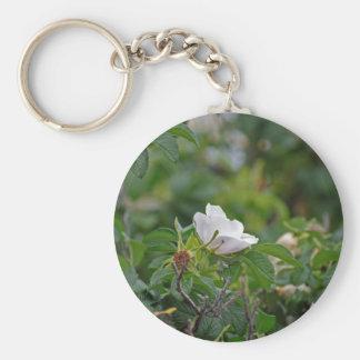 White Wild Rose Keychain