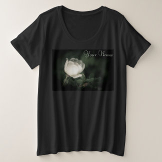 White Wild Rose on a Dark Background. Your name. Plus Size T-Shirt