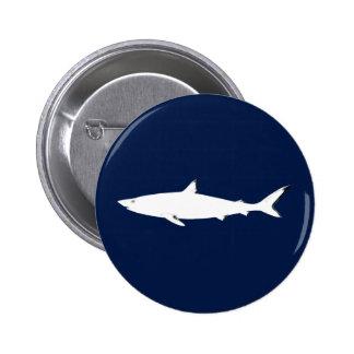 white wild shark pinback button