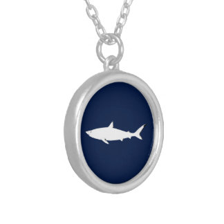 white wild shark - sea animals silver plated necklace