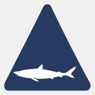 white wild shark - sea animals triangle sticker