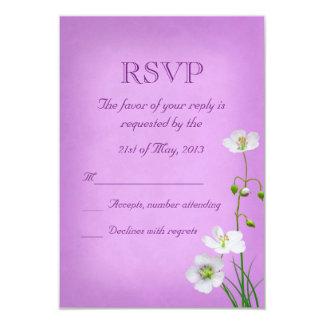 White Wildflower on Purple Wedding RSVP Card