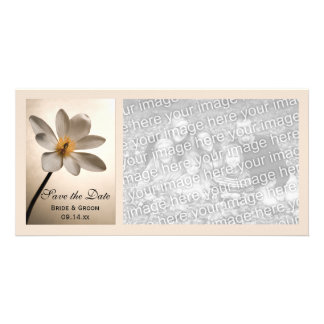 White Wildflower Wedding Save the Date Photo Card
