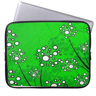 White Wildflowers on Green Laptop Sleeve
