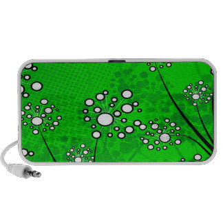 White Wildflowers on Green Portable Speakers