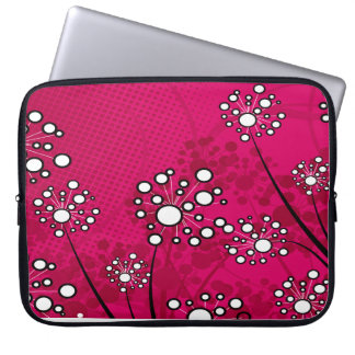 White Wildflowers on Pink Laptop Computer Sleeves