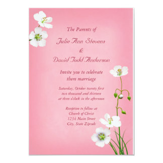 White Wildflowers on Pink Wedding Card