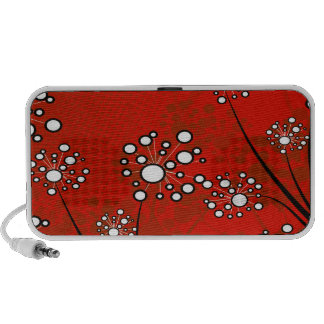 White Wildflowers on Red Products Laptop Speakers