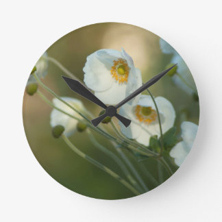 white windflowers in a natural display round clocks