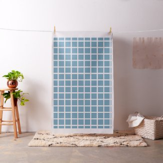 White Windowpane Stripes on Carolina Blue Fabric