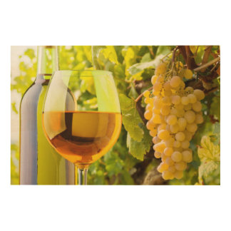 White Wine And Grapes Wood Wall Art