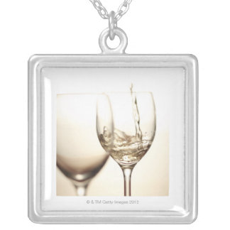 White Wine Being Poured Into Glass Square Pendant Necklace
