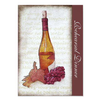 White wine bottle and grapes - Rehearsal dinner 5x7 Paper Invitation Card