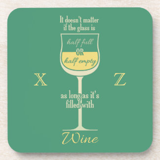 White Wine Glass custom monogram coasters