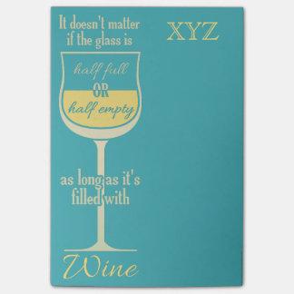 White Wine Glass custom monogram Post-It notes Post-It Note
