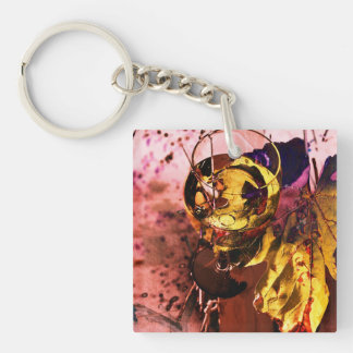 White wine glass with grape leaf photo collage keychain