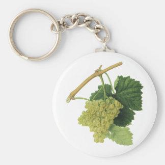 White Wine Grapes on the Vine, Vintage Food Fruit Keychain