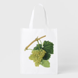 White Wine Grapes on the Vine, Vintage Food Fruit Reusable Grocery Bag