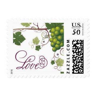 White Wine Green Grape Vine Love Postage