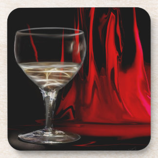 White wine on red curtain background coaster