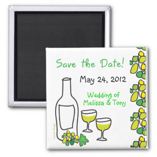 White Wine Save the Date Magnet