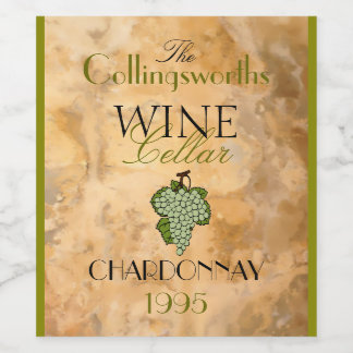 White Wine Vintage Look Personalized Bottle Label