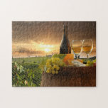 White Wine With Barrel On Vineyard In Chianti Jigsaw Puzzles