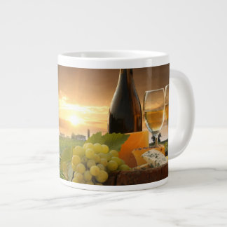 White Wine With Barrel On Vineyard In Chianti Large Coffee Mug