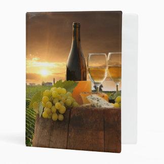White Wine With Barrel On Vineyard In Chianti Mini Binder