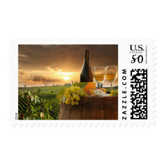 White Wine With Barrel On Vineyard In Chianti Postage