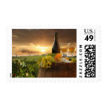 White Wine With Barrel On Vineyard In Chianti Stamp
