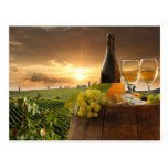 White Wine With Barrel On Vineyard In Chianti Postcard