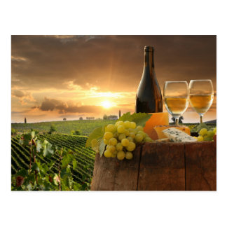 White Wine With Barrel On Vineyard In Chianti Postcard