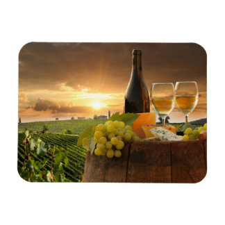 White Wine With Barrel On Vineyard In Chianti Vinyl Magnet