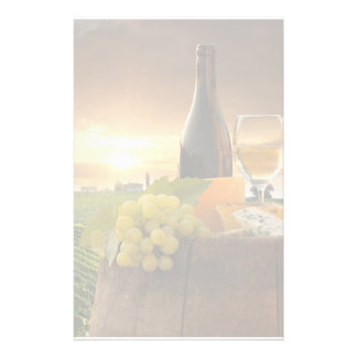 White Wine With Barrel On Vineyard In Chianti Stationery