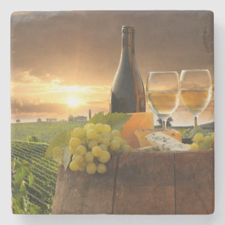 White Wine With Barrel On Vineyard In Chianti Stone Coaster