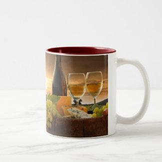 White Wine With Barrel On Vineyard In Chianti Two-Tone Coffee Mug