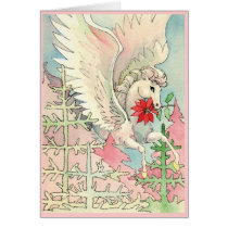 White Winged Horse Christmas Card