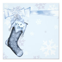 White Winter Blue Snowflakes Baby Boy Shower Card