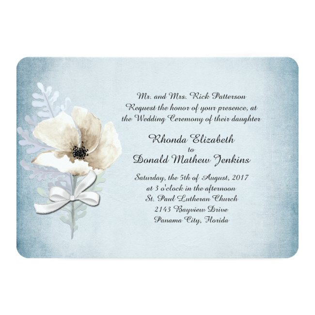 White Winter Poppy Wedding Invitation