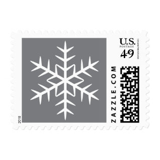 White Winter Snowflake Gray Christmas Holiday Postage at Zazzle