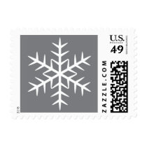 White winter snowflake gray Christmas Holiday Postage Stamp