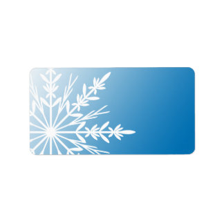 White Winter Snowflake on Blue Label